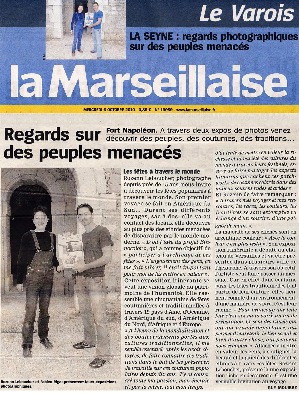 Article - La Marseillaise - exhibition Ethnocolor - rozenn leboucher