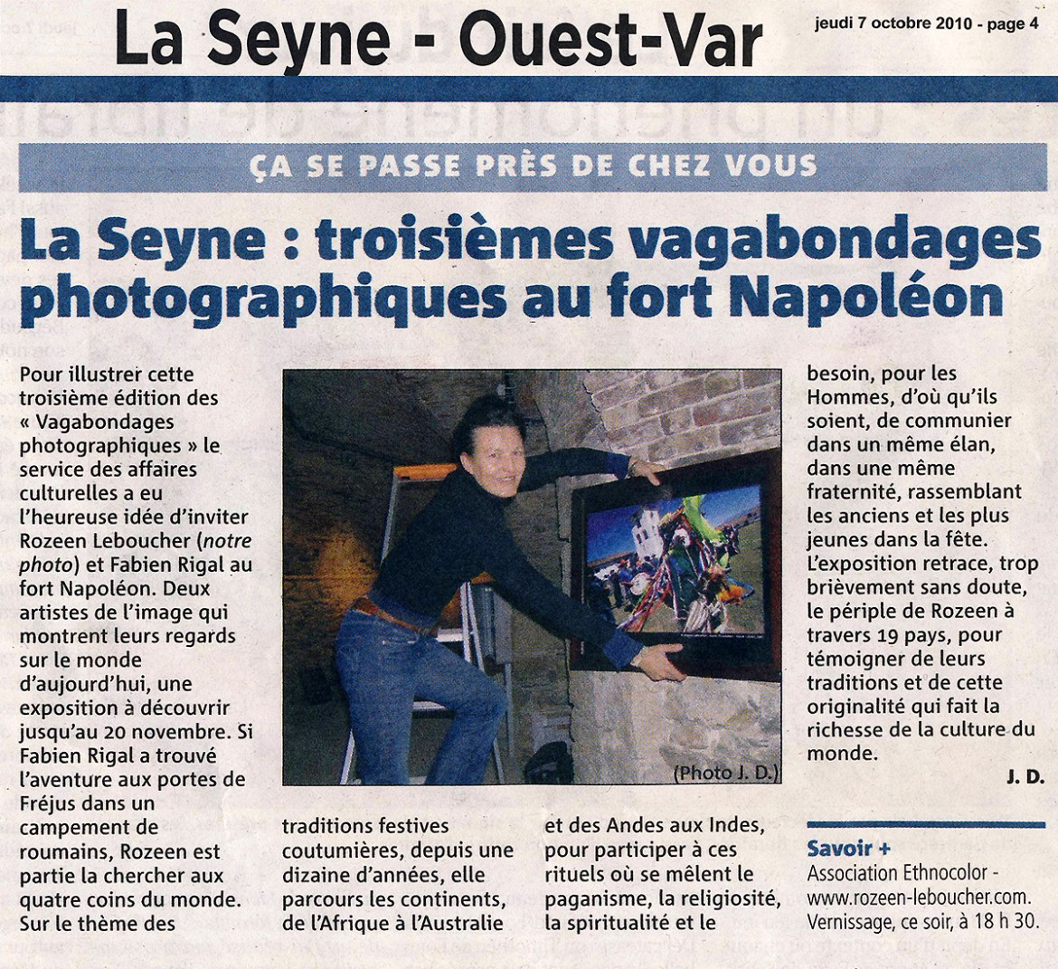 ARTICLE --- Var Matin - Exhibition Ethnocolor - Rozenn Leboucher